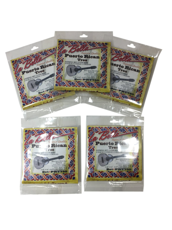 La Bella Silk and Steel Puerto Rican Tres Strings 5-Pack.