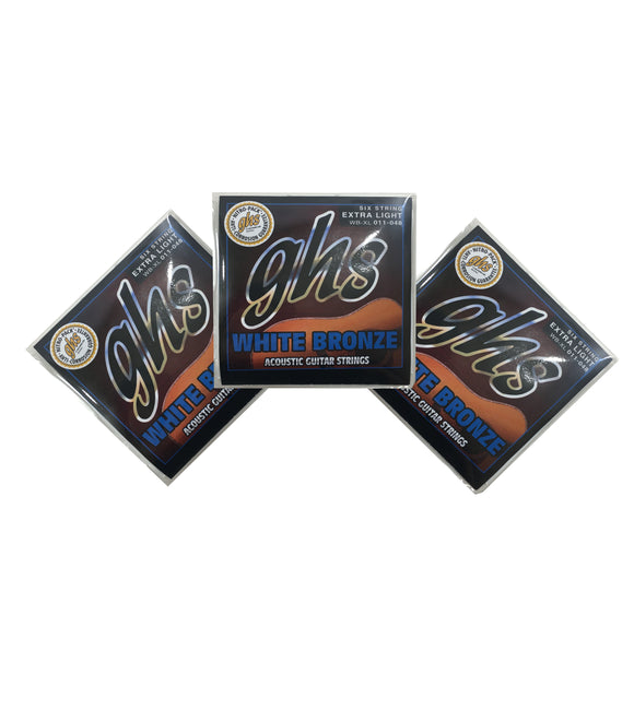 GHS Guitar Strings 3-Pack Acoustic White Bronze Extra Light 11-48