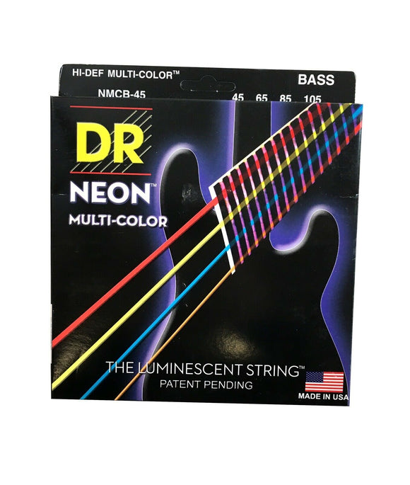 DR Bass Strings Neon Multicolor NMCB-45 45-105 Medium Luminescent