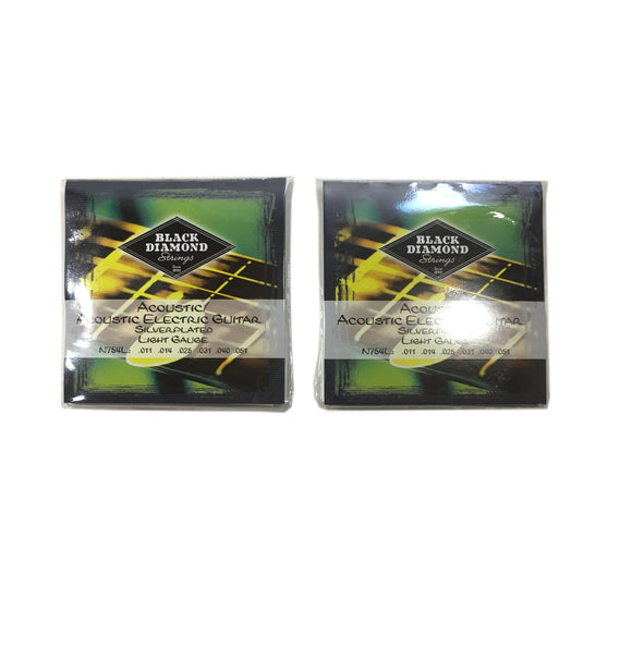 Black Diamond Guitar Strings 2-Pack Acoustic Light Silver Plated N754L 11-51