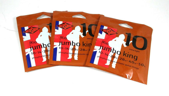 RotoSound Guitar Strings 3 Pack Acoustic Jumbo King Extra Light 10-50 Free Ship.