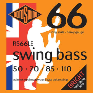 RotoSound Bass Guitar Strings 4 String Swing RS66LE Heavy Stainless Steel.