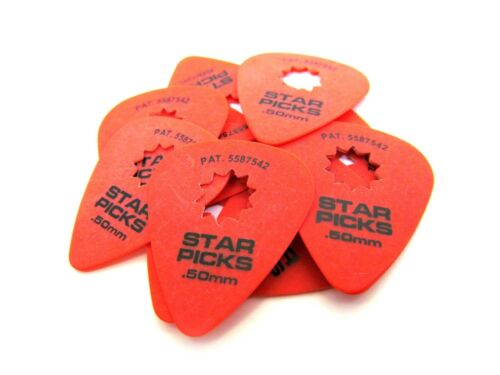 Everly Star Guitar Picks  12 Pack  .50mm  Super Grip  Red.