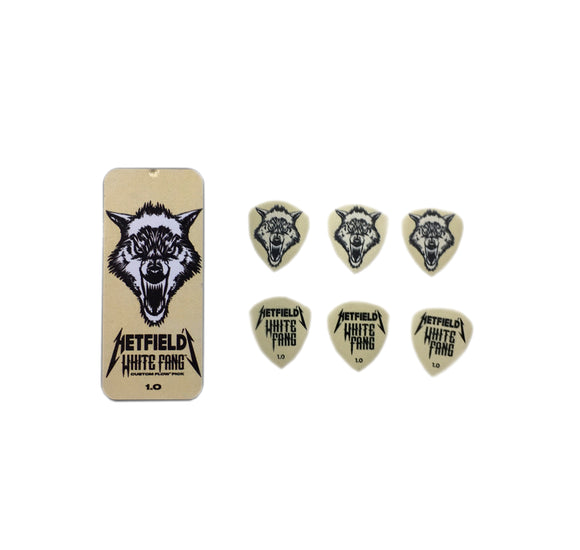 Dunlop Guitar PIcks White Fang Pick Tin 6 Picks 1.0mm James Hetfield