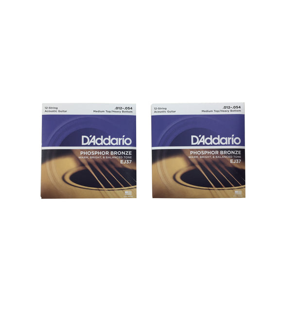 D'Addario Guitar Strings 2-Pack 12 String Phosphor Bronze 12-54