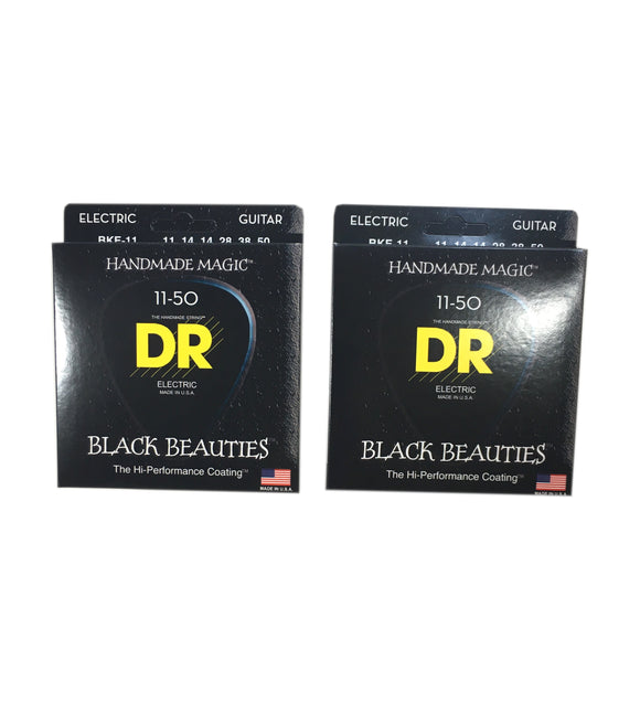 DR Guitar Strings Electric 2-Pack K3 Black Beauties High Performance Coated 11-50