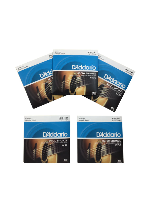 D'Addario Guitar Strings EJ36 5-Packs 12-String  Bronze  Acoustic  Light  10-47