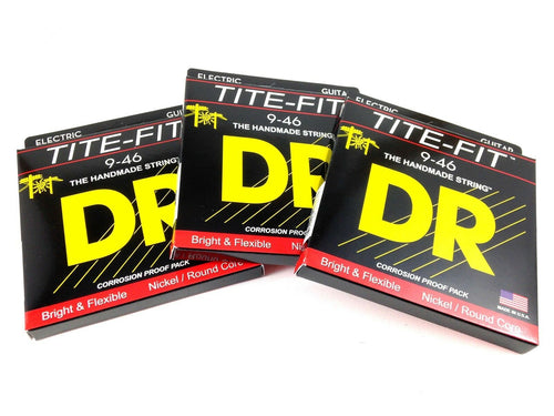 DR Guitar Strings Electric 3 Pack Tite-Fit 09-46 Light and Heavy Handmade USA.