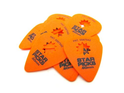 Everly Star Guitar Picks  12 pack   .60mm  Orange.