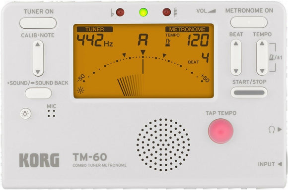KORG TM-60 Chromatic Tuner & Metronome White TM60WH Tunes Any Instrument.