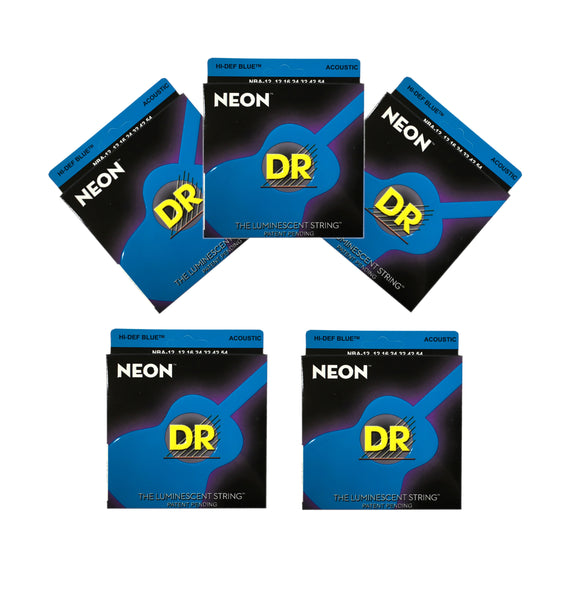 DR Guitars Strings 5-Pack Acoustic Neon Blue 12-54 Luminescent.