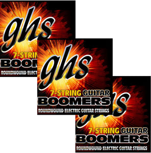 GHS Boomers Guitar Strings 3-Pack  7-String Roundwound Electric Custom Light 9-62
