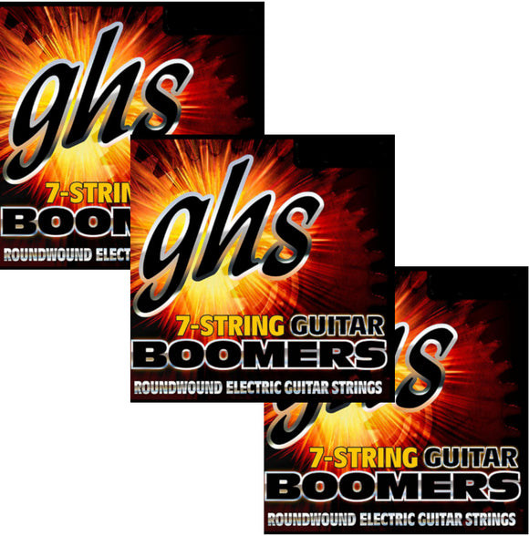 GHS Boomers Guitar Strings 3-Packs 7-String Roundwound Electric Light 9-58