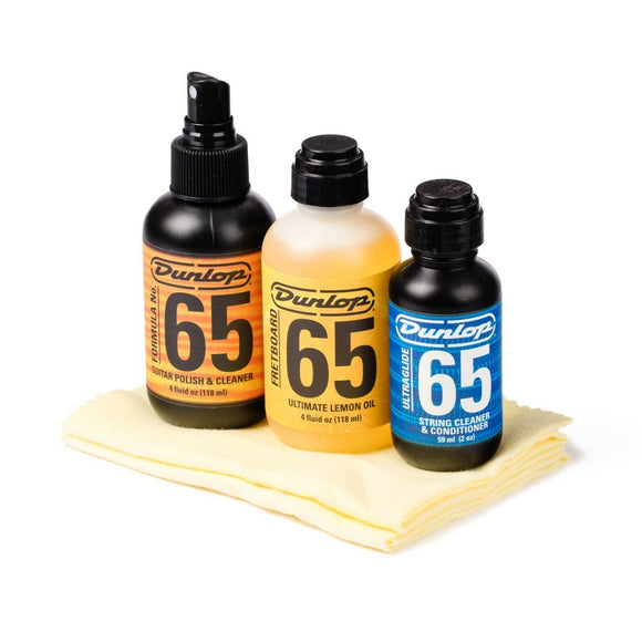 Dunlop System 65 Guitar Tech Kit - Lemon Oil, Polish, String Cleaner Gift Pack.