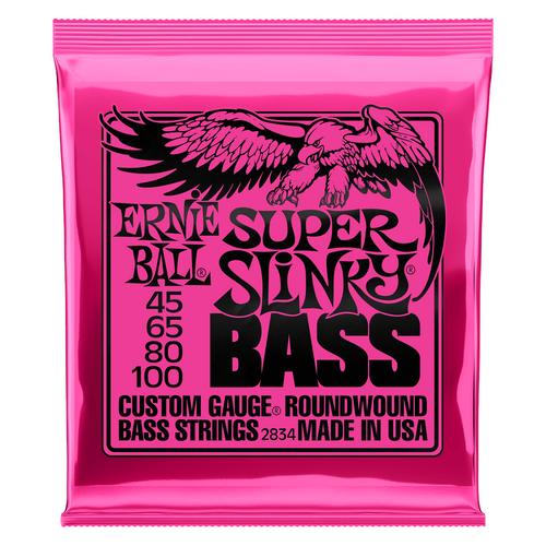 Ernie Ball Bass Guitar Strings 4-String Super Slinky 2834 45-100.