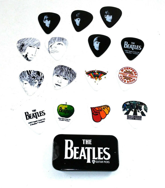 Beatles Guitar Picks Signature Series Logo Planet Waves Pick Tin 15 Picks.