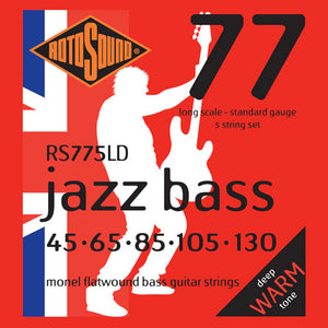 RotoSound Bass Guitar Strings 5-String Jazz Bass RS77 Monel Flatwound 45-65-85-105-130.