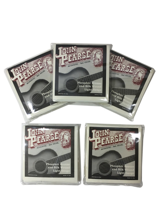 John Pearse Guitar Strings 5 Sets Acoustic Silk Wound Phos Bronze #510L.