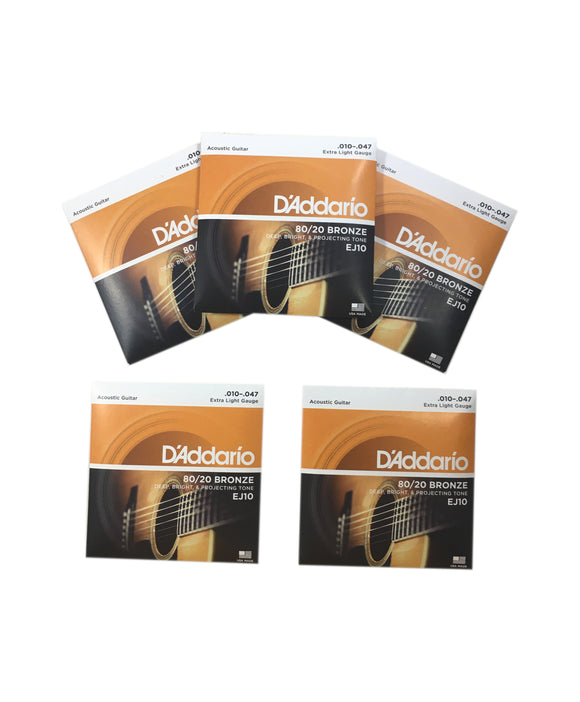 D'Addario Guitar Strings 5-Pack EJ10 Acoustic Extra Light 80/20 Bronze