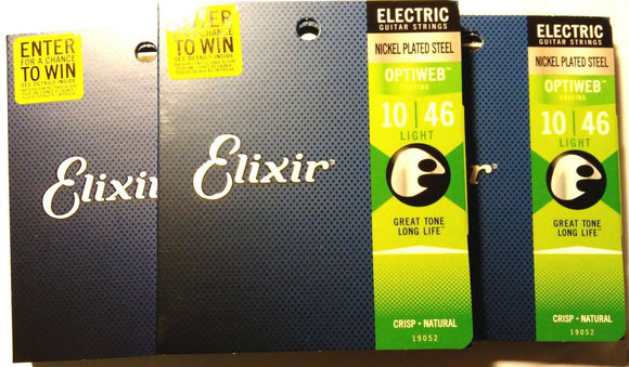 Elixir Guitar Strings 3 Pack Optiweb Electric Light 10-46 Great Tone - Long LIfe