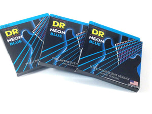 DR Guitar Strings 3 Pack Electric Neon Blue 10-46 Medium