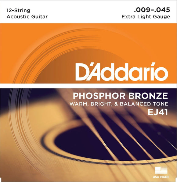 D'Addario Guitar Strings  12 String  09-45  Phosphor Bronze
