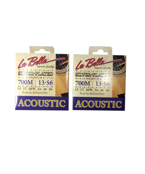 La Bella Guitar Strings 2 Pack  Acoustic Silver Plated Medium 13-56 Crisp Tone