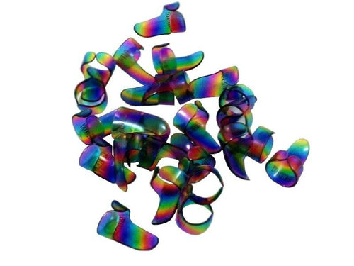 Pickboy Finger Picks Celluloid Rainbow Colored 25 Pack  1.20mm Thick Medium Size.