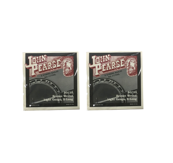 John Pearse Banjo Strings 3 Pack 80/20 Bronze Wound Light Gauge Extra Long