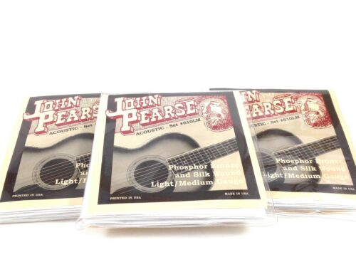 John Pearse Guitar Strings 3 pack  Acoustic Silk Wound Phos Bronze #610LM.