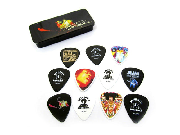 Jimi Hendrix Guitar Picks Band of Gypsies collectible pick tin with 12 picks.