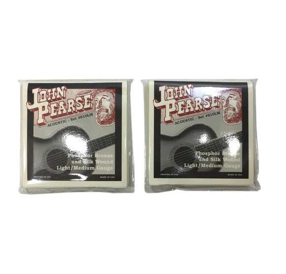 John Pearse Guitar Strings 2-Pack  Acoustic Silk Wound Phos Bronze #610LM.