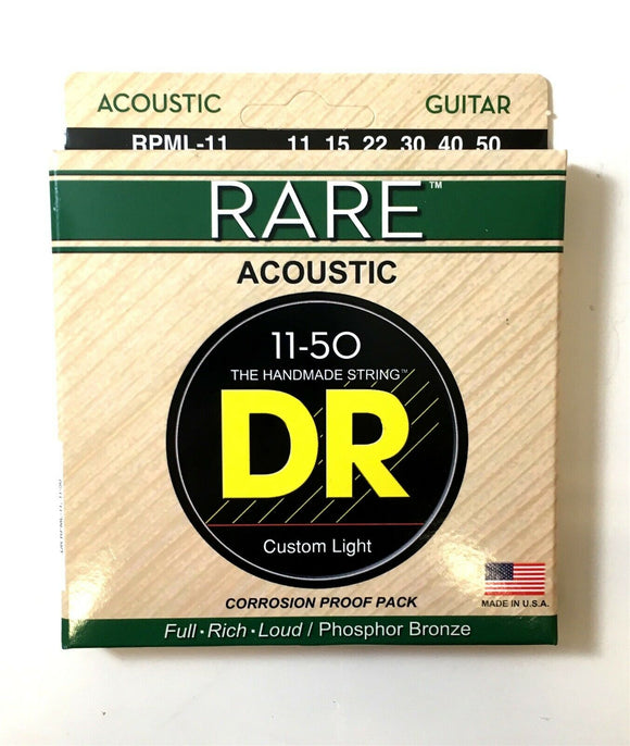 DR Guitar Strings Acoustic RARE Phosphor Bronze Hex Cores RPML-11 11-50