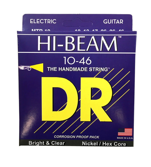 DR Guitar Strings Electric High Beam 10-46 Nickel Plated Hex Core Medium