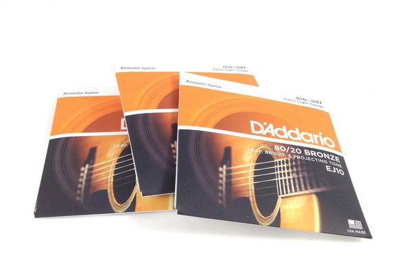 D'Addario Guitar Strings  3 Pack  Acoustic  Extra Light  80/20 Bronze  EJ10