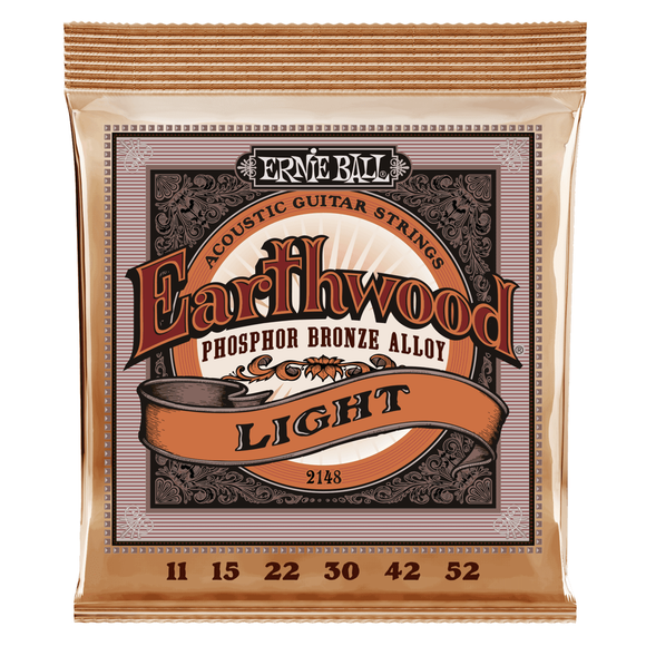 Ernie Ball Guitar Strings Acoustic Earthwood Phosphor Bronze Light 11-52.