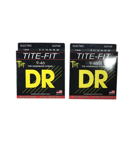 DR Guitar Strings Electric 2 Pack Tite-Fit 09-46 Light and Heavy Handmade USA.