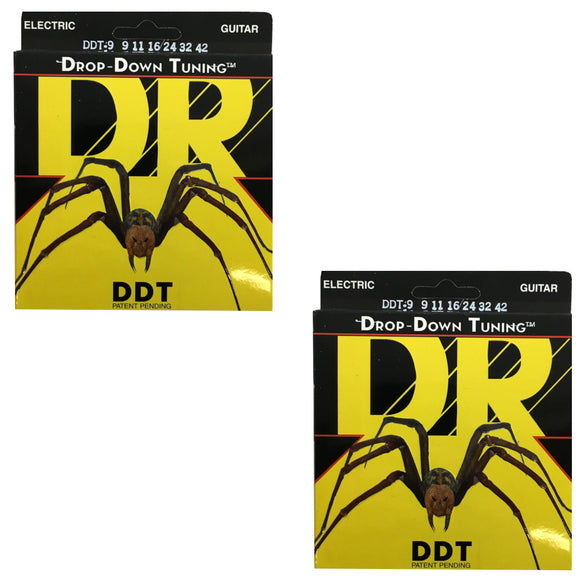 DR Guitar Strings Electric DDT 2 Pack Drop Down Tuning 9-11 Lite.