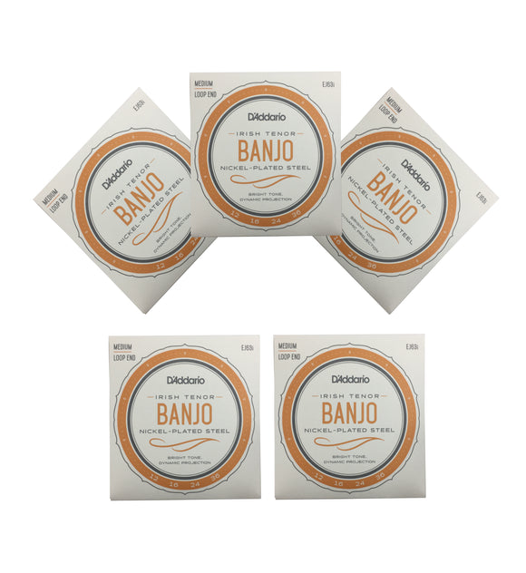 D'Addario Irish Tenor Banjo Strings 5 Packs EJ63i Medium Loop End