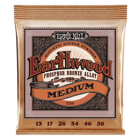 Ernie Ball Guitar Strings Acoustic Earthwood Phosphor Bronze Medium 13-56