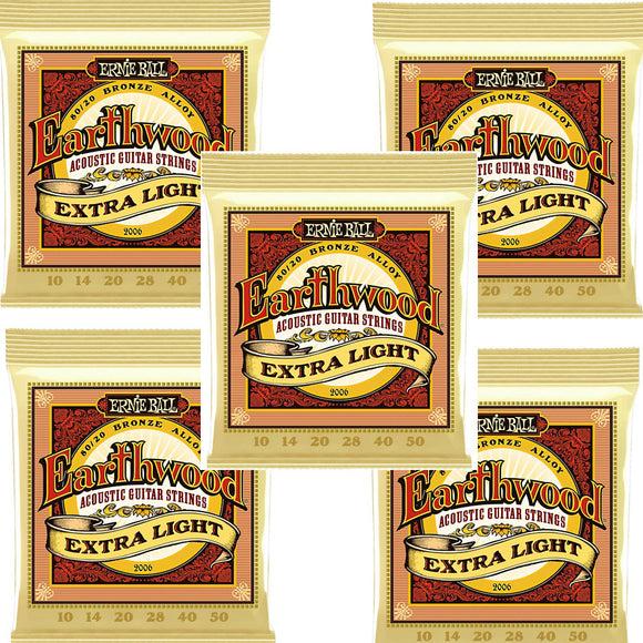 Ernie Ball Guitar Strings 5-Pack Acoustic Earthwood Extra Light 10-50 2006
