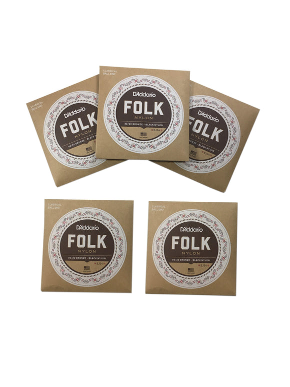 D'Addario Guitar Strings 5-Pack EJ34 Folk Nylon, Ball End, Bronze Wound/Black Nylon Trebles