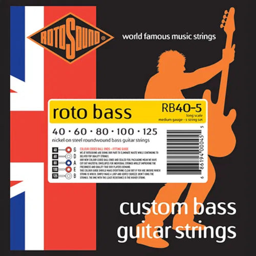 RotoSound Bass Guitar Strings 5-String Roto RB40-5 40-125 Nickel Steel Round Wound.