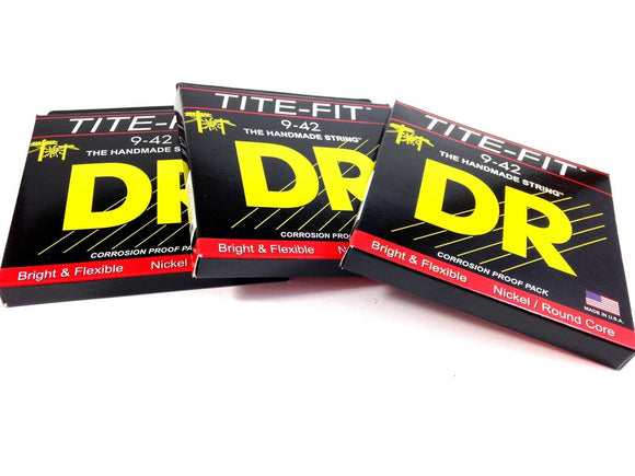 DR Guitar Strings Electric Tite-Fit 3 Pack 09-42 Lite Handmade USA