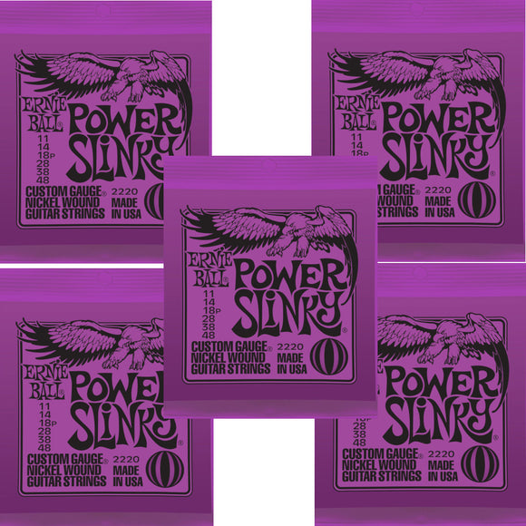 Ernie Ball Guitar Strings 5-Pack Power Slinky Electric 11-48 Nickel Wound.