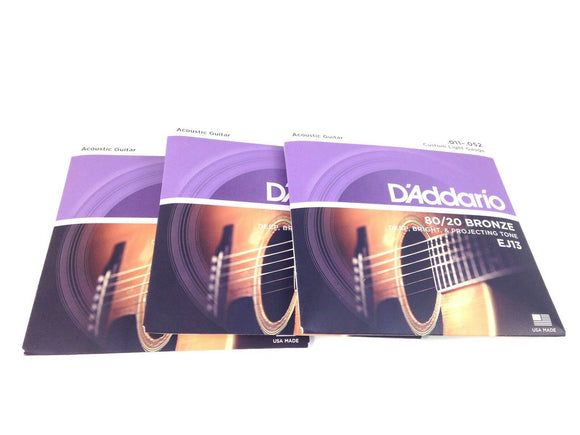 D'Addario Guitar Strings - 3 Pack - Custom Light 80/20 Bronze .11-52