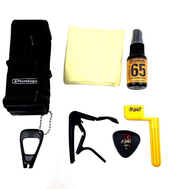 Dunlop Acoustic Guitar Accessory Pack Picks, Winder, Strap, More Gift Pack.