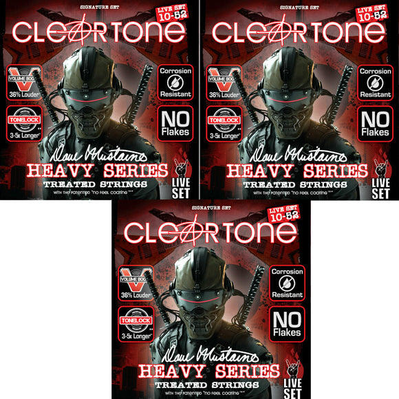 Cleartone Guitar Strings 3-Pack Dave Mustaine Signature Custom Live Set 10-52.