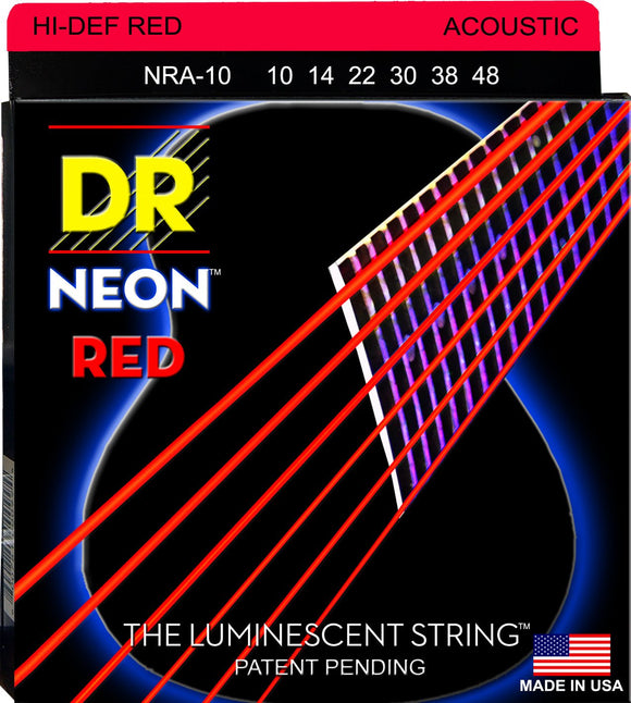 DR Guitar Strings Acoustic Neon Red Medium 10-48 Luminecent.