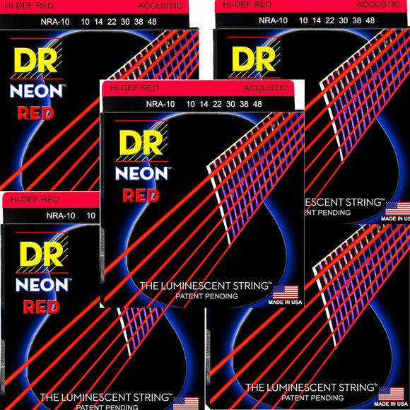 DR Guitar Srings 5-Pack Acoustic Neon Red Medium 10-58 Luminecent.
